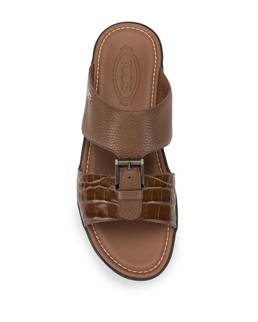 Sandales à boucle à découpes Tod's pour homme en coloris Brown