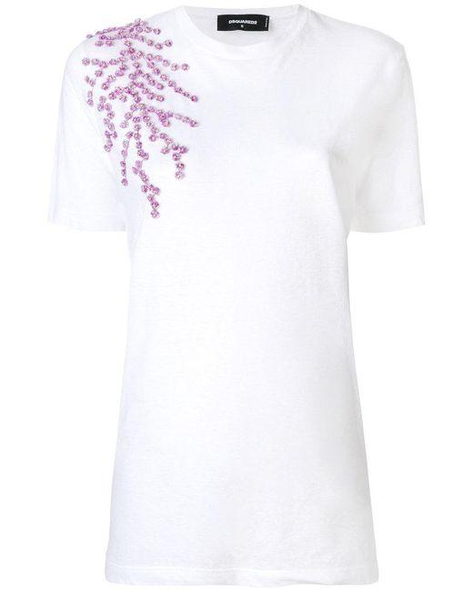 DSquared² - White Floral Appliqué T-shirt - Lyst