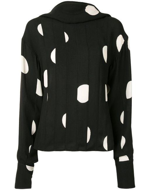 Блузка В Горох С Высоким Воротником Proenza Schouler, цвет: Black