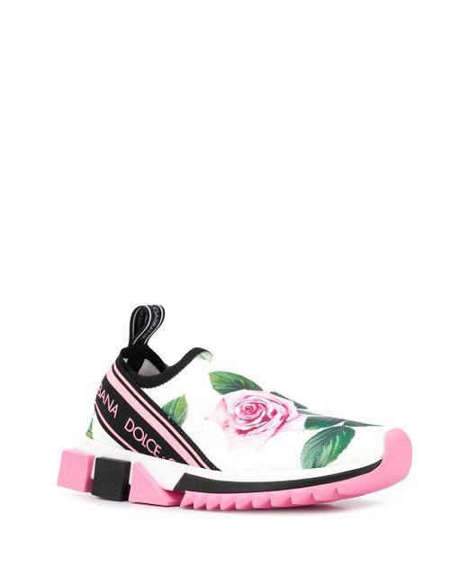 Слипоны Sorrento С Принтом Tropical Rose Dolce & Gabbana, цвет: White