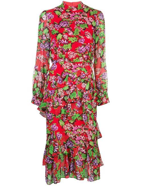 Robe mi-longue volantée à fleurs Saloni en coloris Red