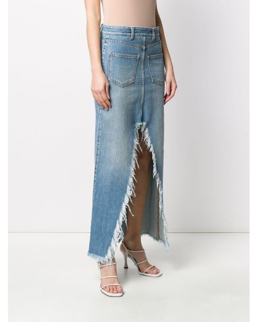 Givenchy スプリット ロングスカート Blue