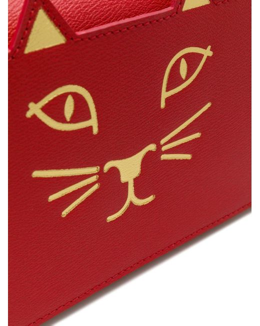 Cartera Long Feline Charlotte Olympia de color Red