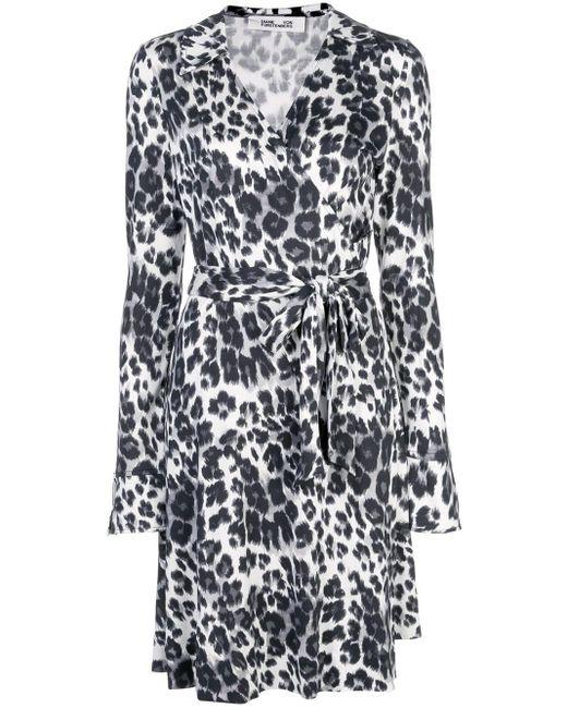 Diane von Furstenberg Black Leopard Print Wrap Dress