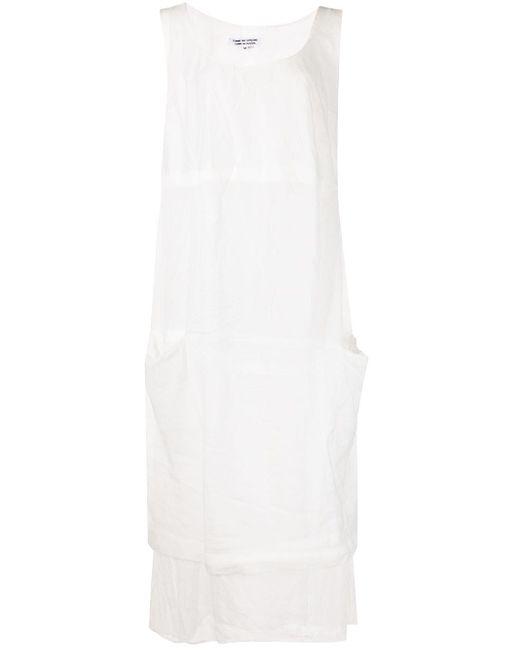 Comme des Garçons White Semi-sheer Midi Dress