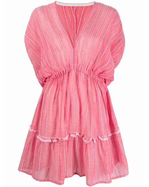 Lemlem ストライプ Vネックドレス Pink