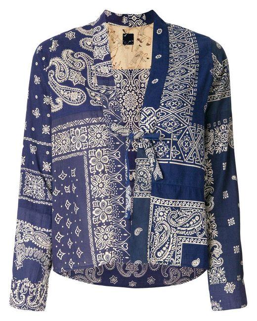 Visvim - Blue Bandana Print Tie Front Blouse - Lyst