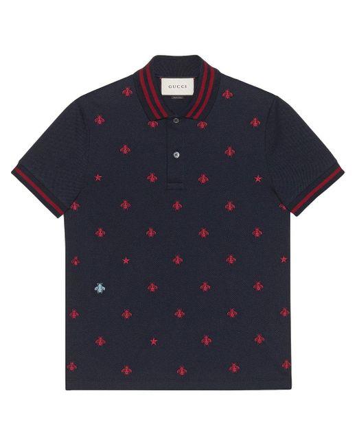 メンズ Gucci ハチ刺繍 ポロシャツ Blue