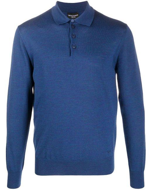 メンズ Emporio Armani ロングスリーブ セーター Blue