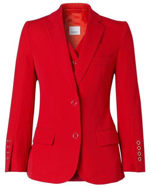 Blazer classique Burberry en coloris Red