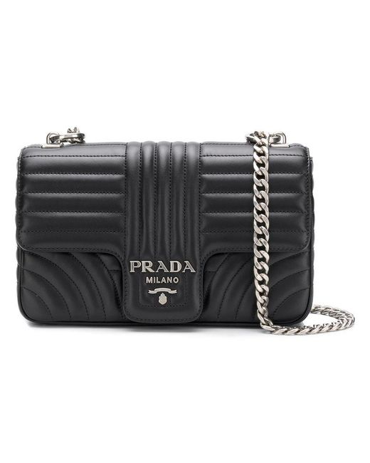 Prada - Black Bevelled Crossbody Bag - Lyst