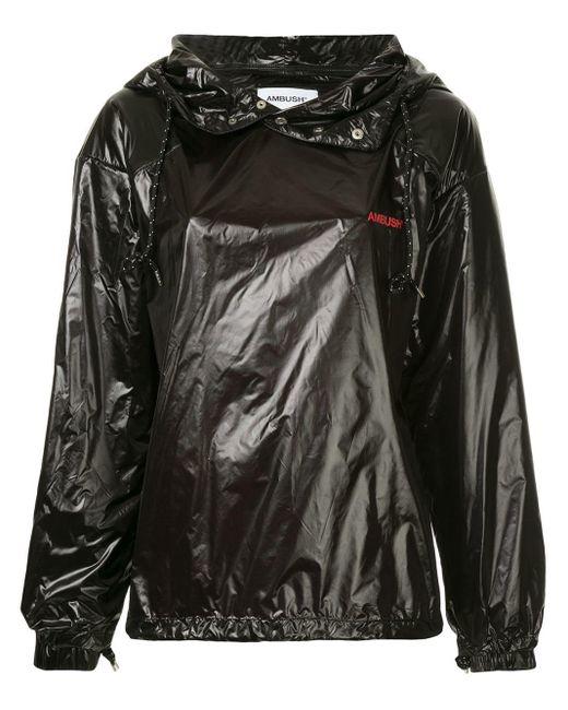 Sweat à capuche à effet verni Ambush en coloris Black