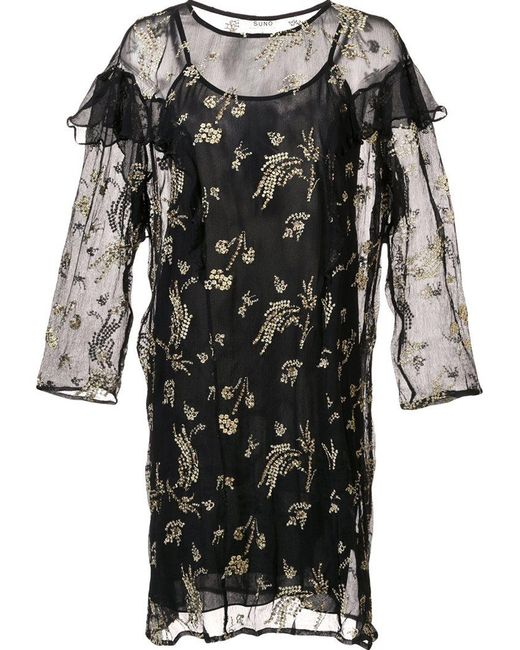 Suno - Black Sheer Ruffle Dress - Lyst