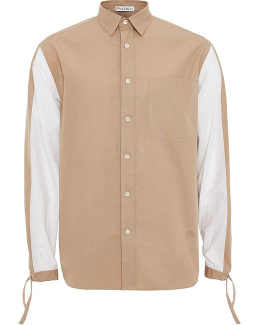 J.W. Anderson Natural Drawstring Colour-block Shirt for men