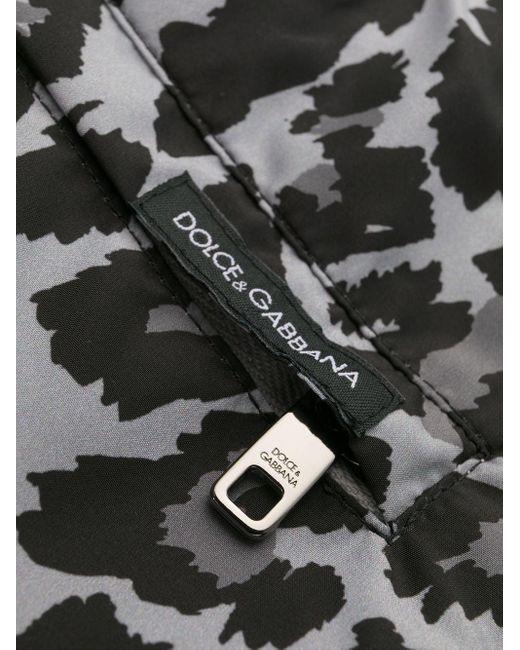 メンズ Dolce & Gabbana レオパード トランクス水着 Gray