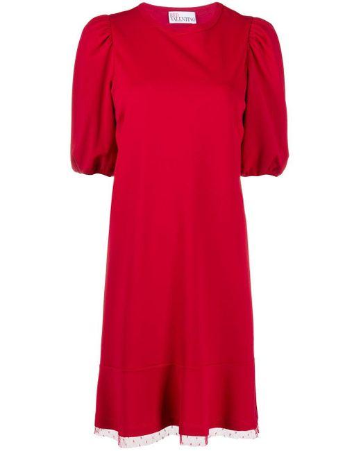 Платье Со Вставкой Из Тюля RED Valentino, цвет: Red