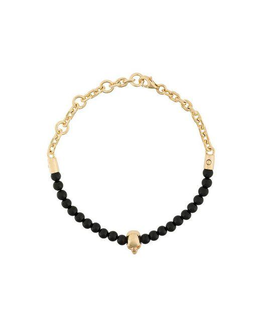 Northskull - Black Beaded Skull Bracelet - Lyst