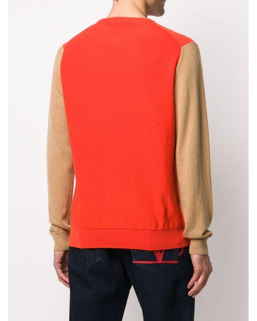メンズ Pringle of Scotland カシミア カラーブロック セーター Orange