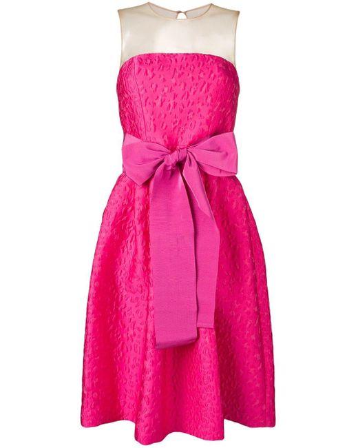 P.A.R.O.S.H. Pink Bow Detail Jacquard Dress