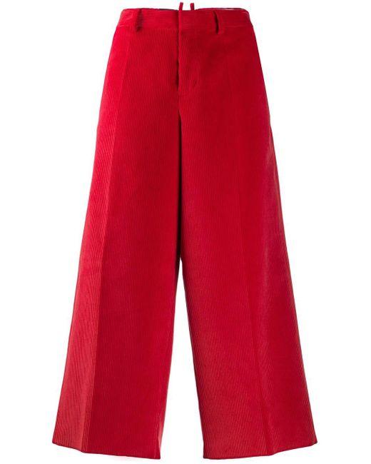 DSquared² Pantalones de pana capri de mujer de color rojo