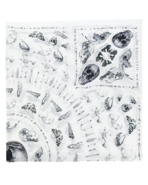 Alexander McQueen   White Skull Print Scarf for Men   Lyst