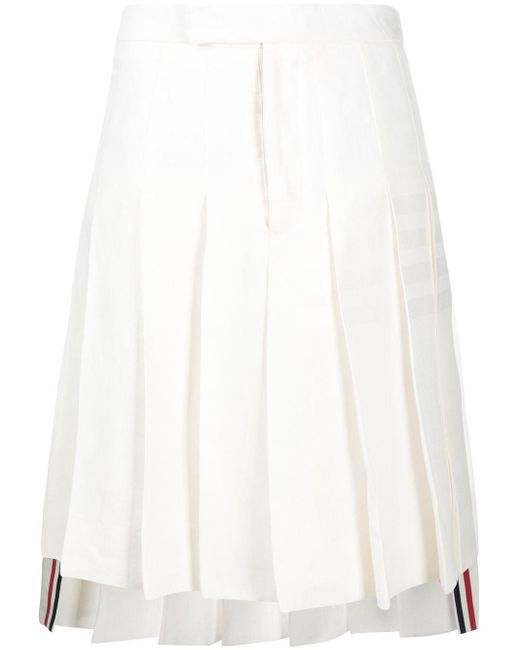 Thom Browne White 4-bar Knee-length Pleated Skirt for men
