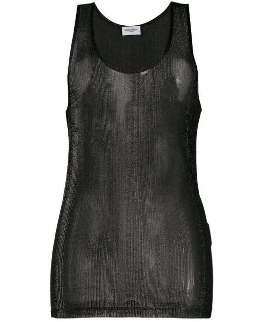 Saint Laurent Top metalizado sin mangas translúcido de mujer de color negro uM4oL