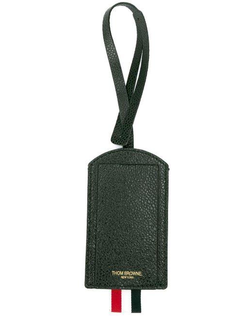 メンズ Thom Browne ブラック ペブルド 4barストライプ ラゲージタグ Black