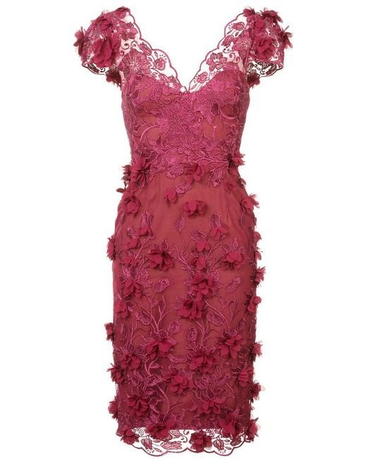 Marchesa notte - Embroidered Lace Dress - Lyst