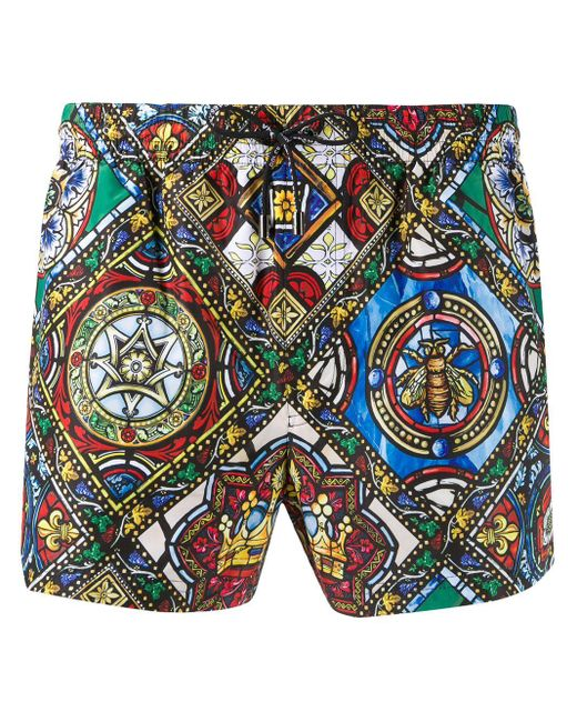 Dolce & Gabbana Green Stained-glass Print Swim Shorts for men