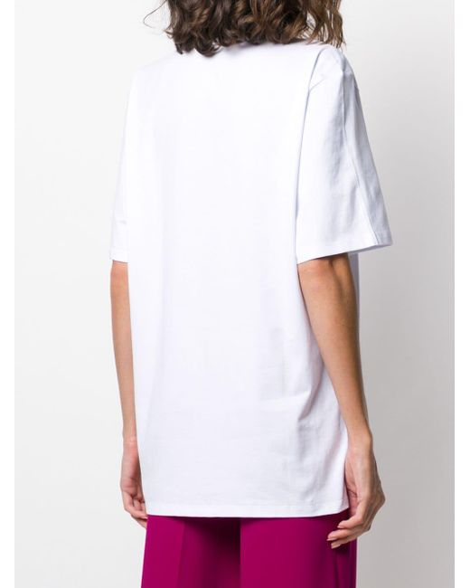 T-shirt à logo imprimé MSGM en coloris White