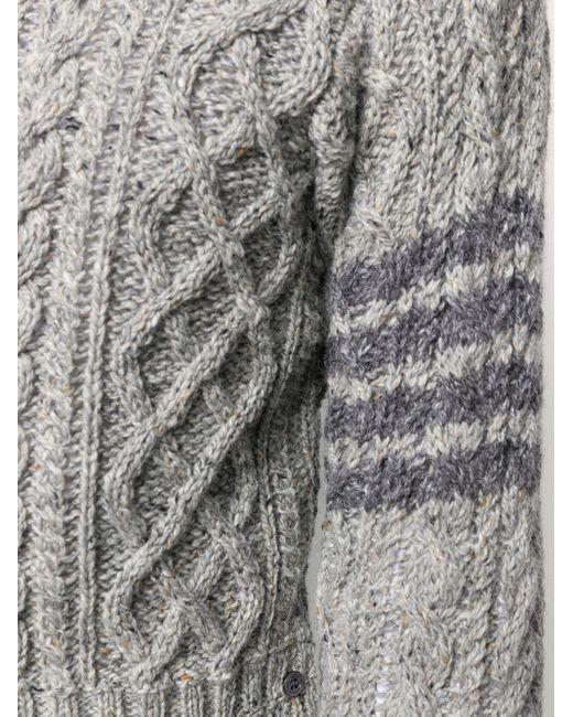 Джемпер Фактурной Вязки С Полосками 4-bar Thom Browne для него, цвет: Gray