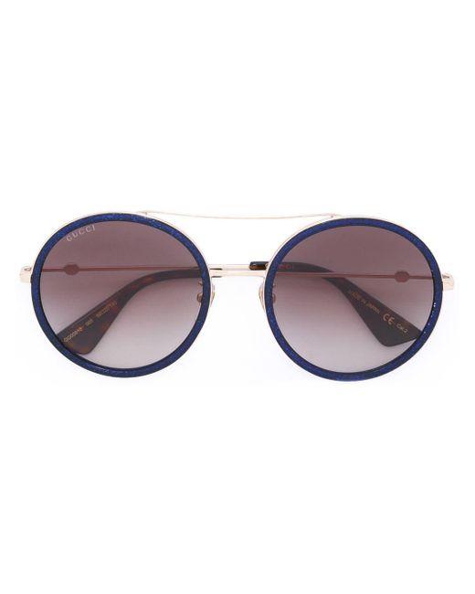 3dc43ff8818e Gucci Round Frame Metal Sunglasses in Blue - Lyst