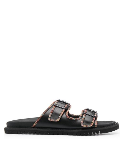 Paul Smith Black Flat Leather Sandals for men