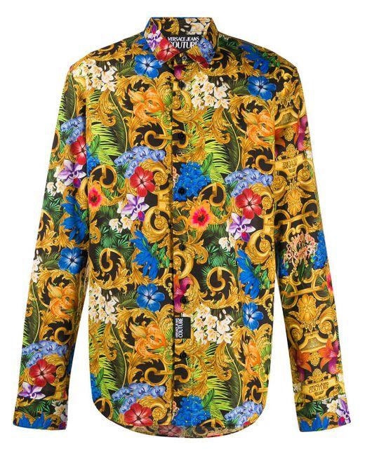 メンズ Versace Jeans バロック フローラルシャツ Yellow