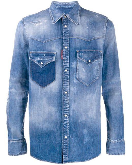 Джинсовая Рубашка С Эффектом Потертости DSquared² для него, цвет: Blue