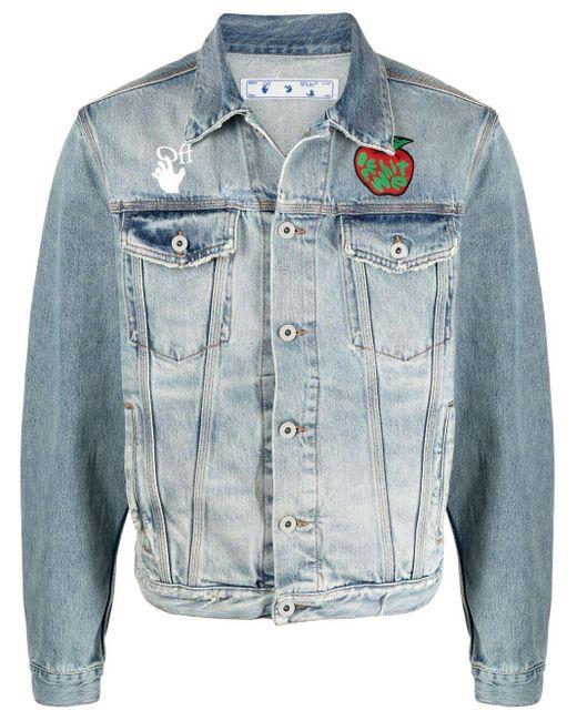 Off-White c/o Virgil Abloh Blue Apple Slim Denim Jacket for men