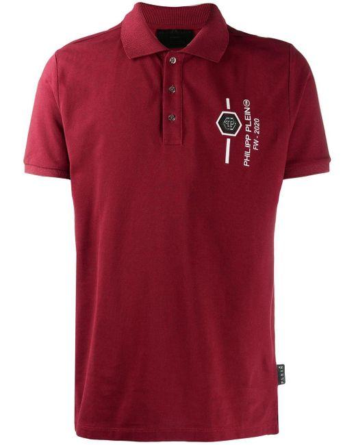 メンズ Philipp Plein スカル ポロシャツ Red