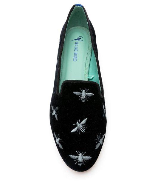 Blue Bird Shoes エンブロイダリー ベルベット ローファー Black