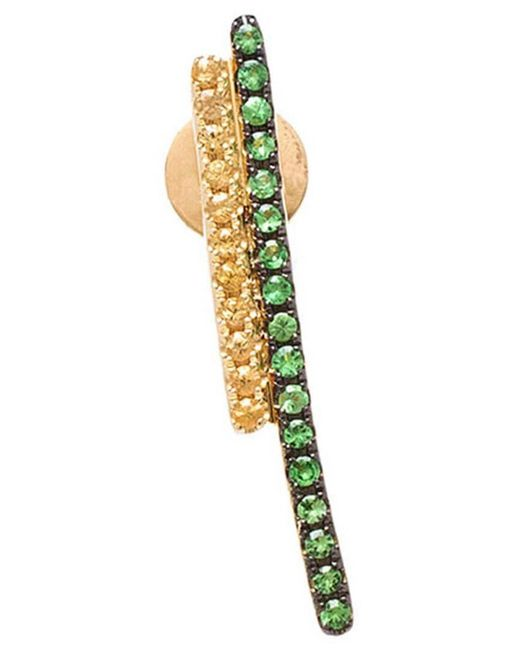 Asherali Knopfer - Yellow Tsavorite And Sapphire Bar Earring - Lyst