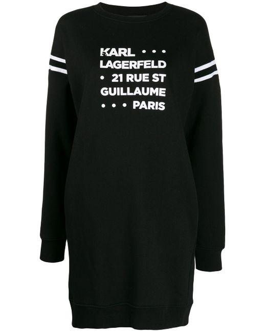 Karl Lagerfeld プリント スウェットドレス Black