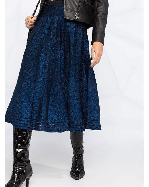 Юбка Со Складками И Эффектом Металлик Karl Lagerfeld, цвет: Blue