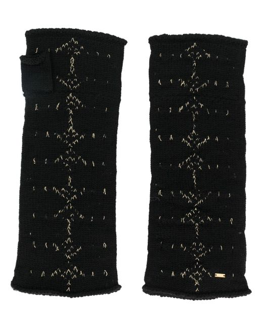 Mitaines en maille intarsia Saint Laurent pour homme en coloris Black