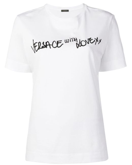 Versace スローガン Tシャツ White