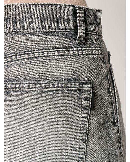 Джинсовые Шорты С Завышенной Талией Saint Laurent, цвет: Gray