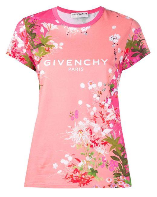 Givenchy フローラル ロゴ Tシャツ Pink