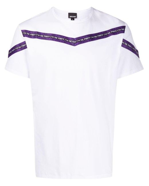 メンズ Just Cavalli ストライプ Tシャツ White