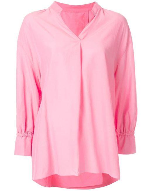 KUHO Blusa con cuello en V de mujer de color rosa PT73t