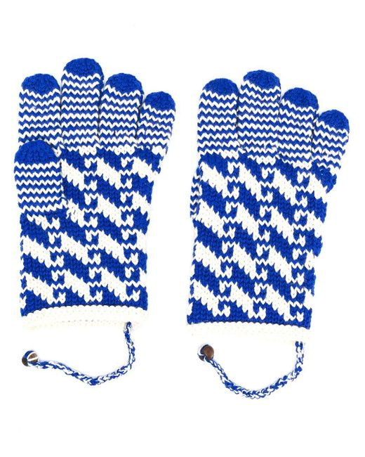 Перчатки Вязки Интарсия Bode для него, цвет: Blue