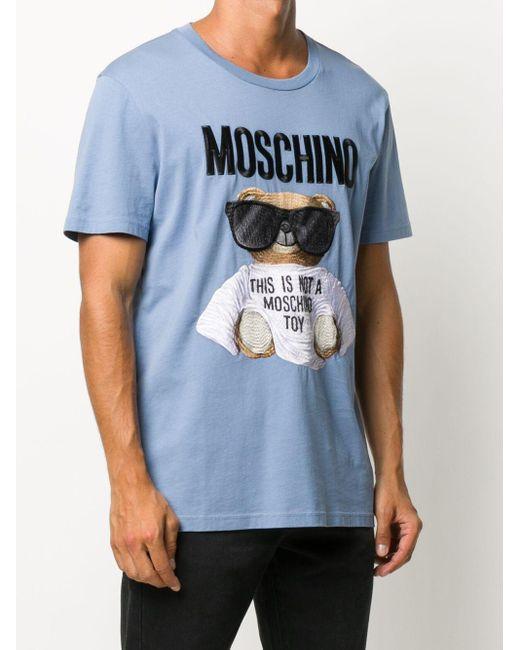 メンズ Moschino テディベア Tシャツ Blue